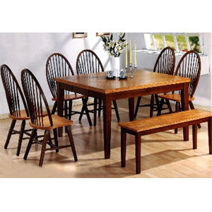 7-Pc Honey Oak and Chestnut Dining Set 100341/5579A (CO)