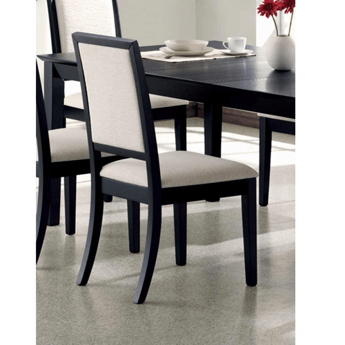 (Set of 2) Dining Side Chairs Black and Cream (Weight Capacity 300 lbs)