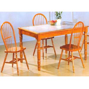 5-Pc Oak Finish Dining Set 1215-39/44 (WD)