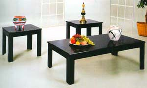 3-Piece Parquet Coffee/End Table Set 1600-BLK (ML)