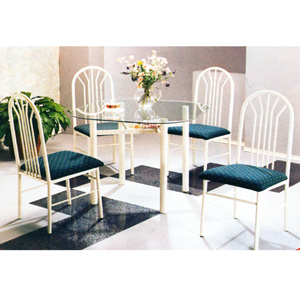 5-Pc Pack White/Gold Dinette Set 2166W (Au)