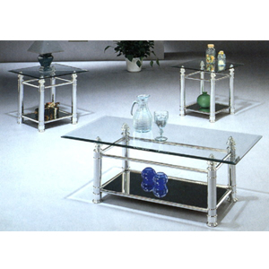3-Pc Brushed Chrome Plated Coffee Table Set 2202 (CO)