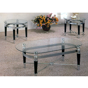 3-Pc Matte Chrome And Black Coffee Table Set 2330 (CO)