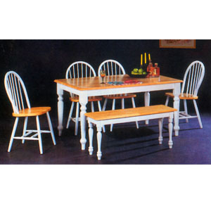5-Piece Natural/White Finish Dinette Set 2436NW (A)