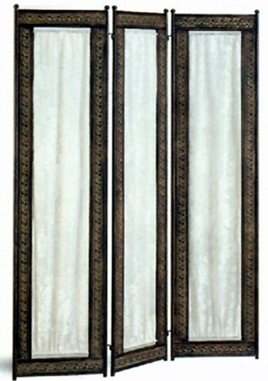 Antique Brass and Rust Finish Three Panel Screen 2499(CO)
