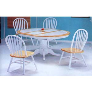 5-Piece Natural/White Finish Dinette Set 9634/9614(WDi)