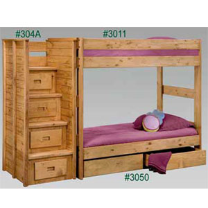 Twin Twin Bunk Bed Stairs And Under Bed Drawers 3011 304 Pc