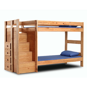 super popular 3f41a 4cc19 Solid Wood Twin/Twin Bunk Bed With Stairs 394_(PC)