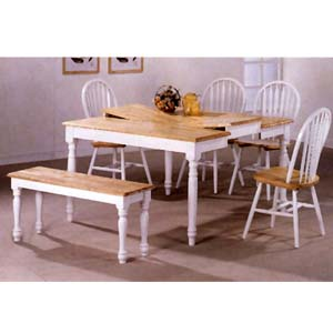 6-Pc Natural/White Dinette Set 4066/4152/10 (CO)