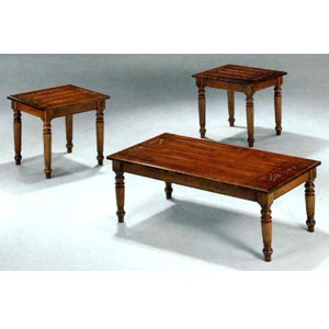 3-Pc Rustic Oak Finish Coffee And End Table Set 4081 (CO)