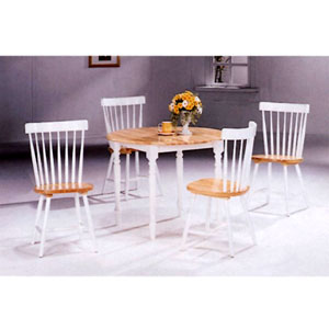 5-Pc Natural/White Solid wood Dinette Set 4140-17 (CO)