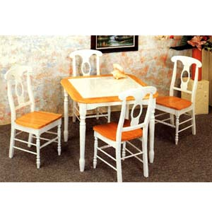 5-Pc Solid Wood Dinette Set In Natural/White 4141-17 (CO)