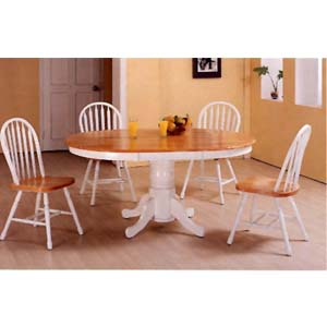 5-Pc Natural/White Finish Dinette Set 4163/33 (CO)