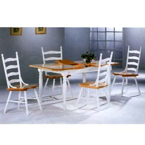 5-Pc Natural/White Solid Wood Dinette Set 4164/4703 (CO)