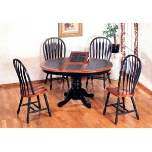 5-Pc Solid Dark Oak And Green Dinette Set 4252-84A (CO)