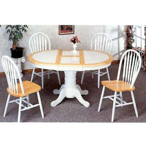 5-Pc Dining Set In Natural/White 4253/4152 (CO)