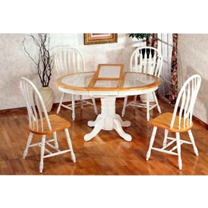 5-Pc Dining Set In Natural/White 4253/4190A (CO)