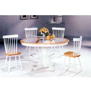 5-Pc Natural/White Dining Set 2506(ML)/4517(CO)