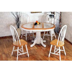 5-Pc Natural/White Dining Set 2506/3505(ML)
