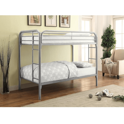 Morgan Silver Metal Twin Twin Bunk Bed (400 Lbs Weight Cap)