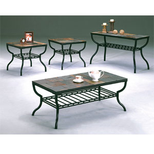 3-Pc Slate Insert Cocktail Table Set 55044 (WD)