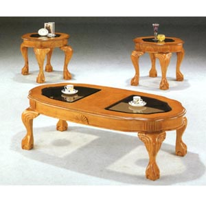 3-Pc Oval Oak Finish Coffee And End Table Set 5737 (CO)