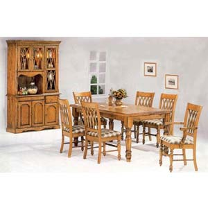 7-Pc Pine Finish Dining Set 5901 (CO)