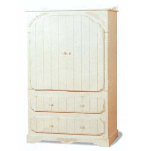 Antique White Finish Solid Wood T.V. Armoire 5999 (CO)