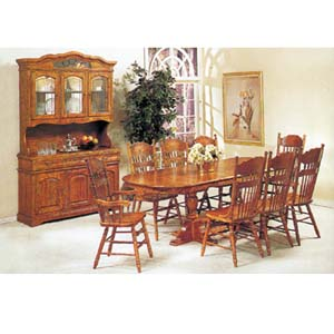 9-Piece Oak Finish Dinette Set 6535 (A)