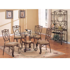 5-Pc Cafe Glass Top Dining Set 6645/6647 (A)