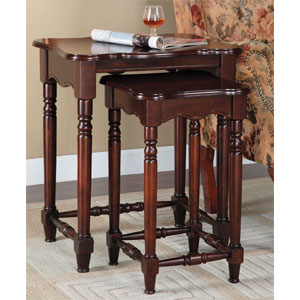 2-Pc Brown Cherry Nested Accent Tables 716-266 (PWFS)