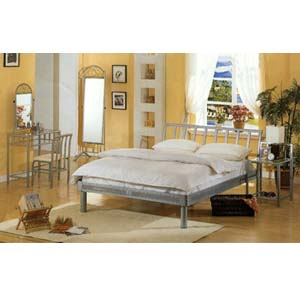 4-Piece Contemporary Silver Queen Size Bedroom Set 7601 (CO)