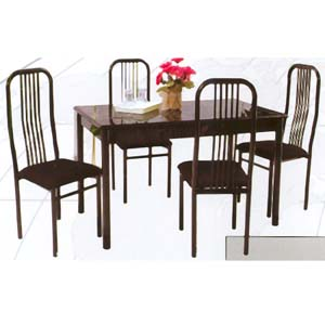5-Pc Marble Polyester Dining Set 780-321/60 (WD)