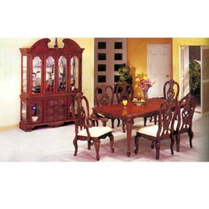 7-Piece Huntington Cherry/Gold Accent Dinette Set 8760 (A)