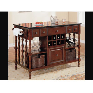 Kitchen Island Cart Dark Wood Finish Marble Top 910029 Co