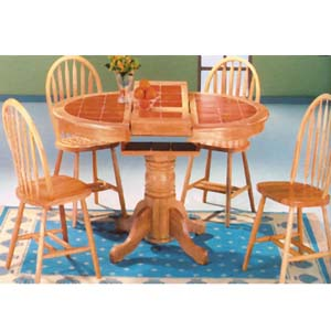 5-Pc Natural and Terra Cotta Dining Set 9234 (WD)