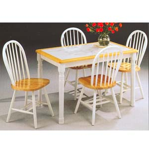 5-Pc White/Natural  Dinette Set 9632 (WD)