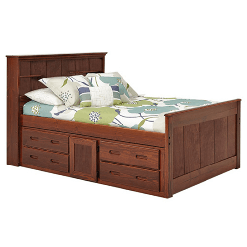 Solid Wood Heartland Twin Bookcase Captains Bed With