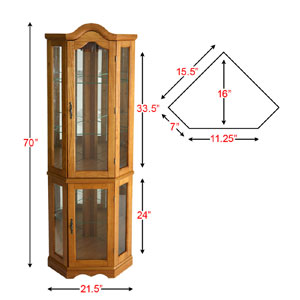 Lighted Corner Curio Cabinet Golden Oak Cm0695 Seifs More Than