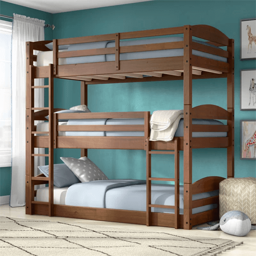 Solid Wood Sierra Triple Bunk Bed (Multiple Colors)