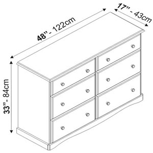 Solid Wood Narrow Double Dresser 540_(PIFS100)