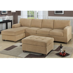 2-Pc Sectional Sofa - Khaki Waffle Suede F7130(PX)