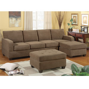 2-Pc Sectional Sofa - Waffle Suede Truffle F7145 (PX)