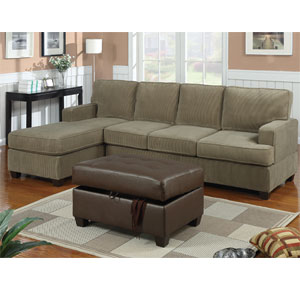 2-Pc Corduroy Sectional Sofa - Sage F7180 (PX)