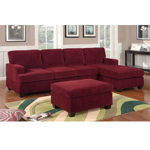 2-Pc Corduroy Sectional Sofa - Wine F7181 (PX)