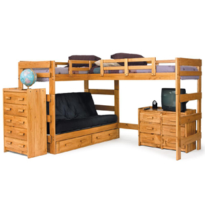 Solid Wood L Shaped Futon Loft Bed Lf 6200 Wc