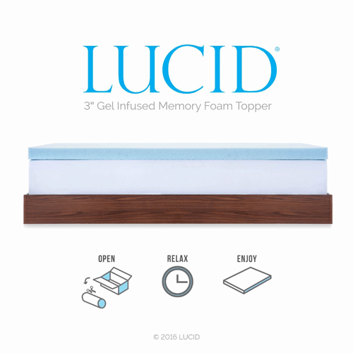 Lucid 3 Inch Gel Memory Foam Mattress Topper Lu30qq30gtazfs More