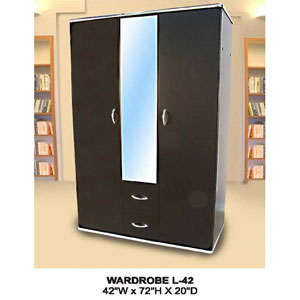 2-Door And 2-Drawer Wardrobe With Mirror L-42(CT)