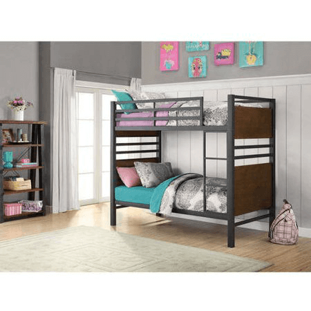 Mercer Twin Over Twin Metal Bunk Bed Decorative Faux Wood Finish