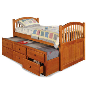 Arched Mission Trundle Bed with Drawers TB800 (WC)
